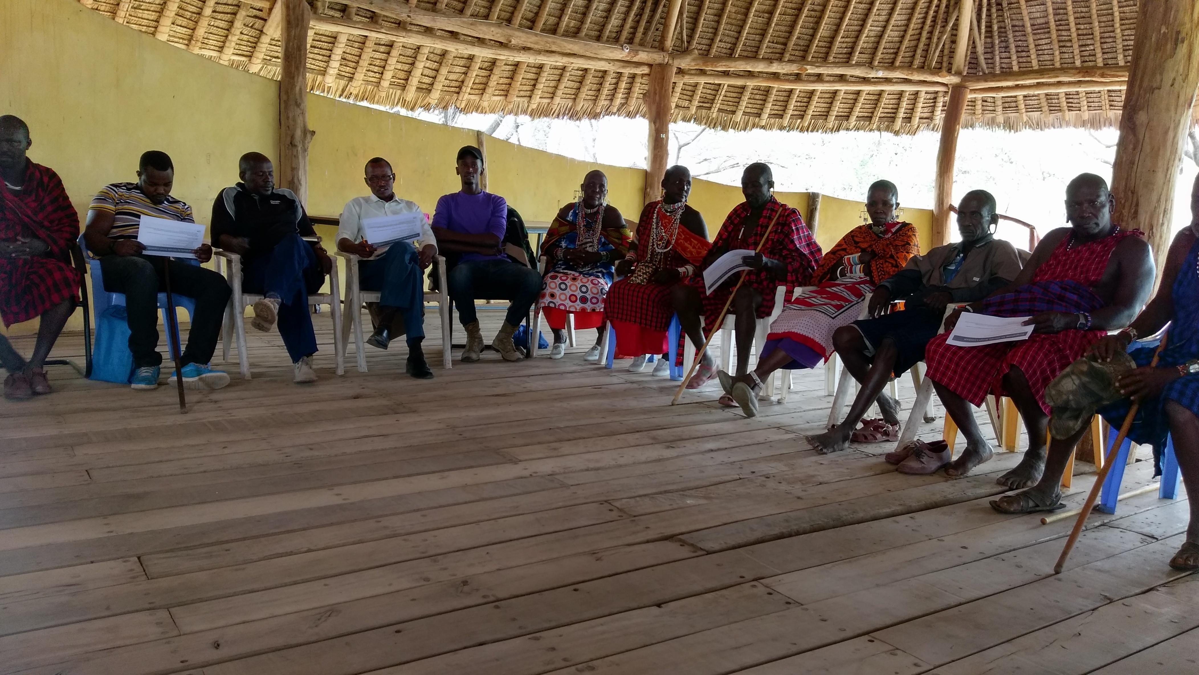 Members of Ol Kirmatian group ranch in Kajiado County, during the PCSL meeting held 25th June 2019 (photo credit ILRI Lucy Njuguna)