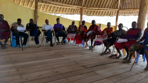 Members of Ol Kirmatian group ranch in Kajiado County, during the PCSL meeting held 25th June 2019 (photo credit ILRI Lucy Njuguna)